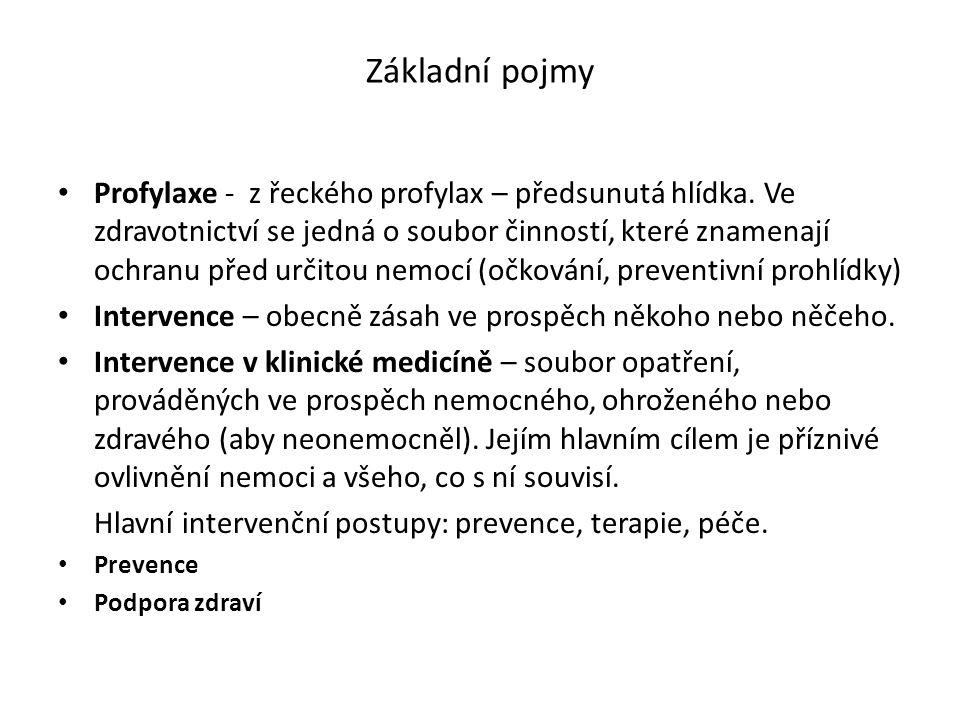 Základní pojmy Profylaxe - z řeckého profylax – předsunutá hlídka. Ve zdravotnictví se jedná o soubor činností, které znamenají ochranu před určitou n