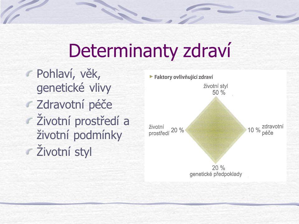 Determinanty zdraví Pohlaví, věk, genetické vlivy Zdravotní péče Životní prostředí a životní podmínky Životní styl