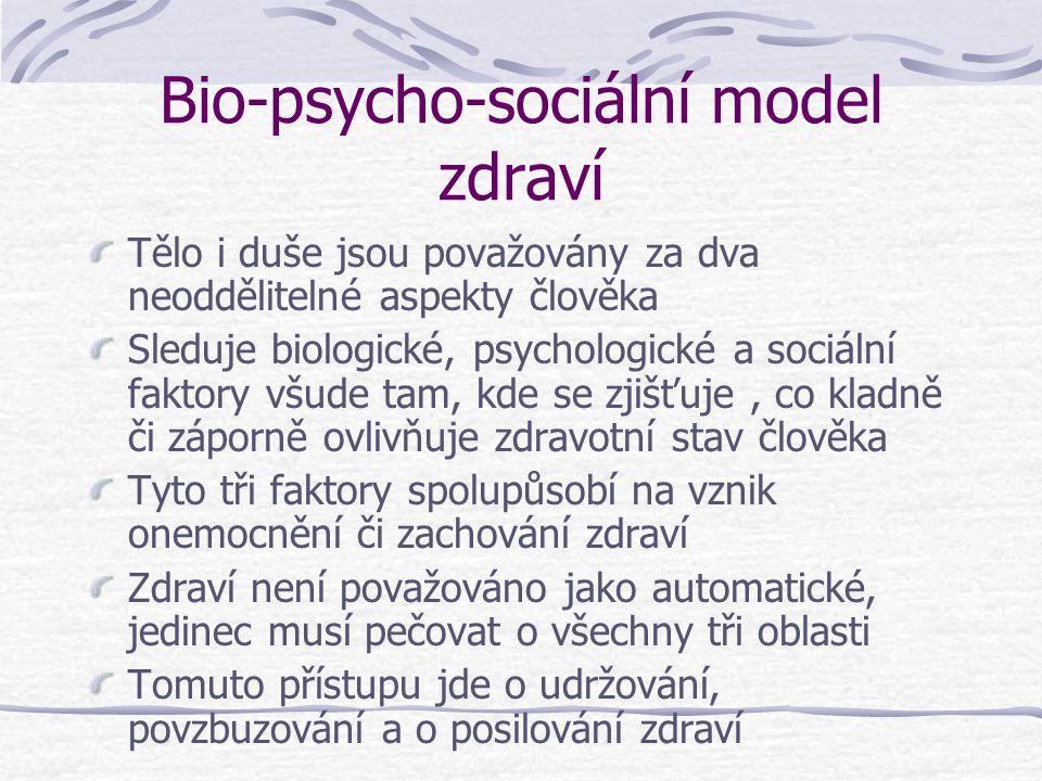 Bio-psycho-sociální model zdraví Tělo i duše jsou považovány za dva neoddělitelné aspekty člověka Sleduje biologické, psychologické a sociální faktory všude tam, kde se zjišťuje, co kladně či záporně ovlivňuje zdravotní stav člověka Tyto tři faktory spolupůsobí na vznik onemocnění či zachování zdraví Zdraví není považováno jako automatické, jedinec musí pečovat o všechny tři oblasti Tomuto přístupu jde o udržování, povzbuzování a o posilování zdraví