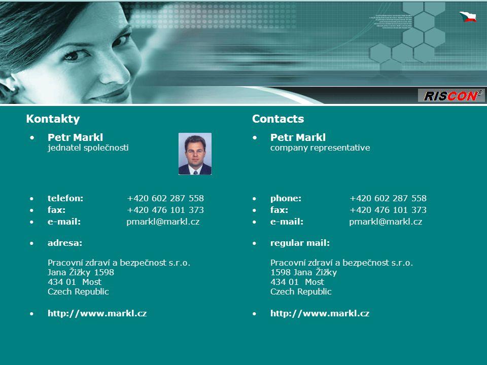 Petr Markl jednatel společnosti telefon: +420 602 287 558 fax: +420 476 101 373 e-mail: pmarkl@markl.cz adresa: Pracovní zdraví a bezpečnost s.r.o.