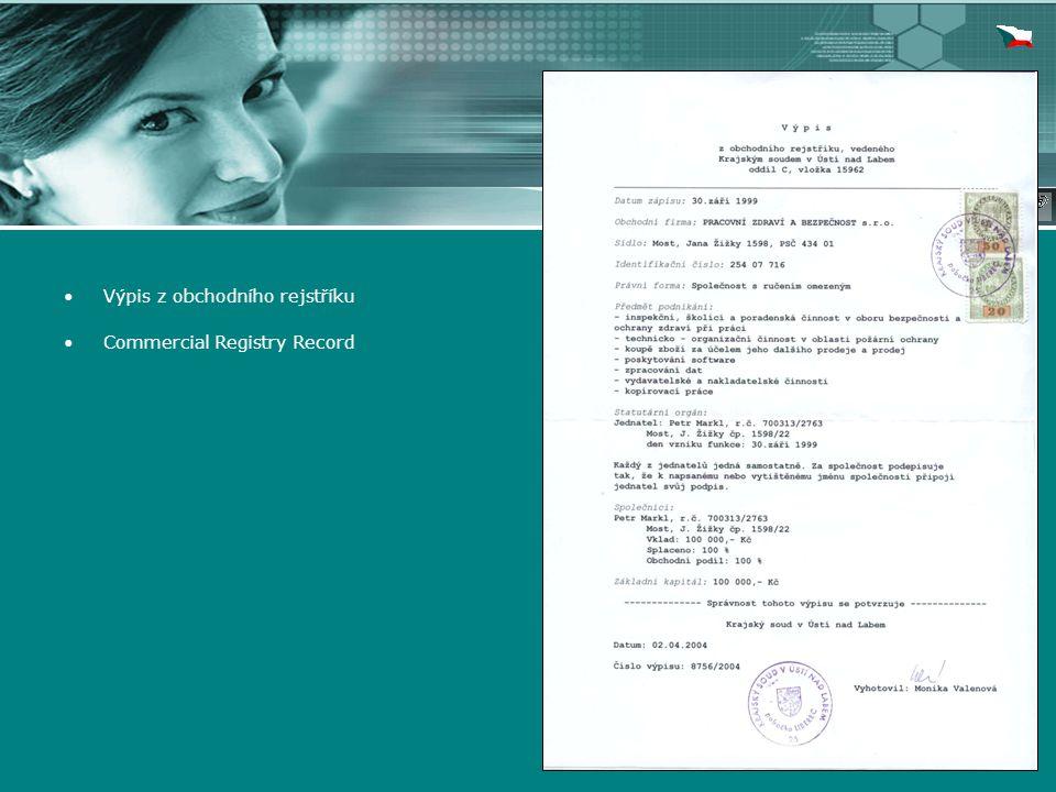 Výpis z obchodního rejstříku Commercial Registry Record