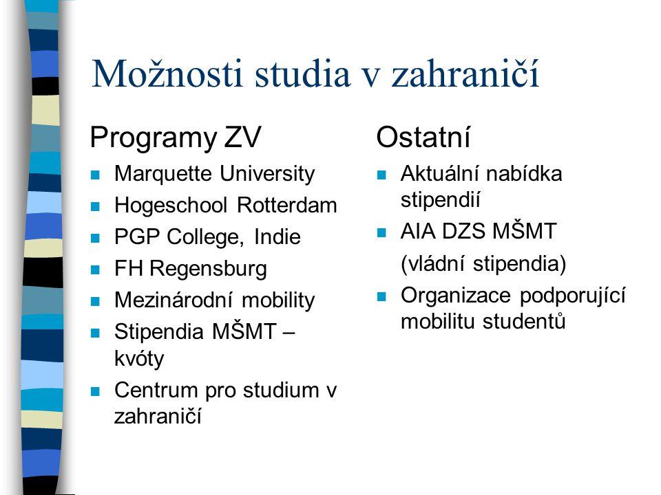 Možnosti studia v zahraničí Programy ZV n Marquette University n Hogeschool Rotterdam n PGP College, Indie n FH Regensburg n Mezinárodní mobility n St