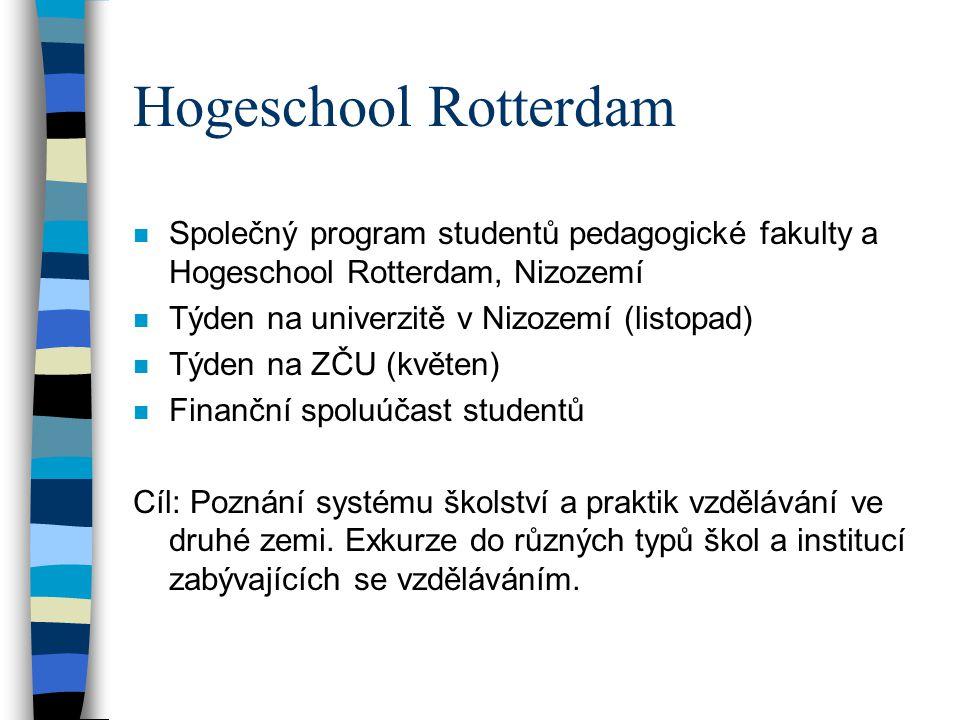 Hogeschool Rotterdam n Společný program studentů pedagogické fakulty a Hogeschool Rotterdam, Nizozemí n Týden na univerzitě v Nizozemí (listopad) n Tý
