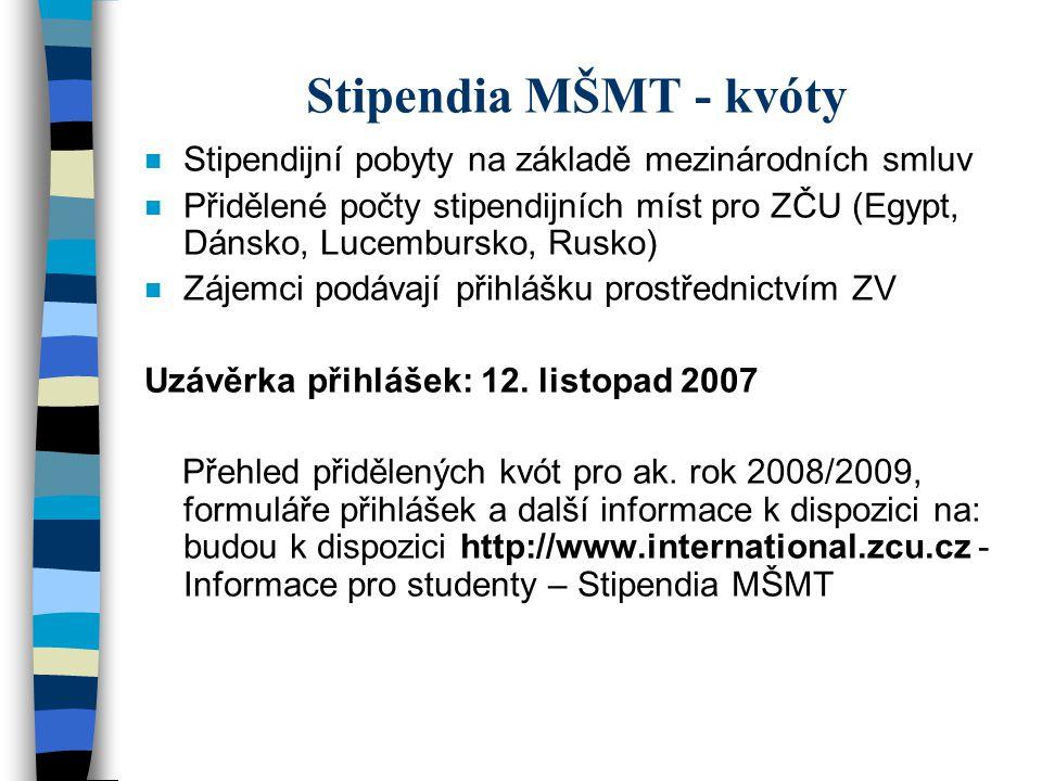 Stipendia MŠMT - kvóty n Stipendijní pobyty na základě mezinárodních smluv n Přidělené počty stipendijních míst pro ZČU (Egypt, Dánsko, Lucembursko, R