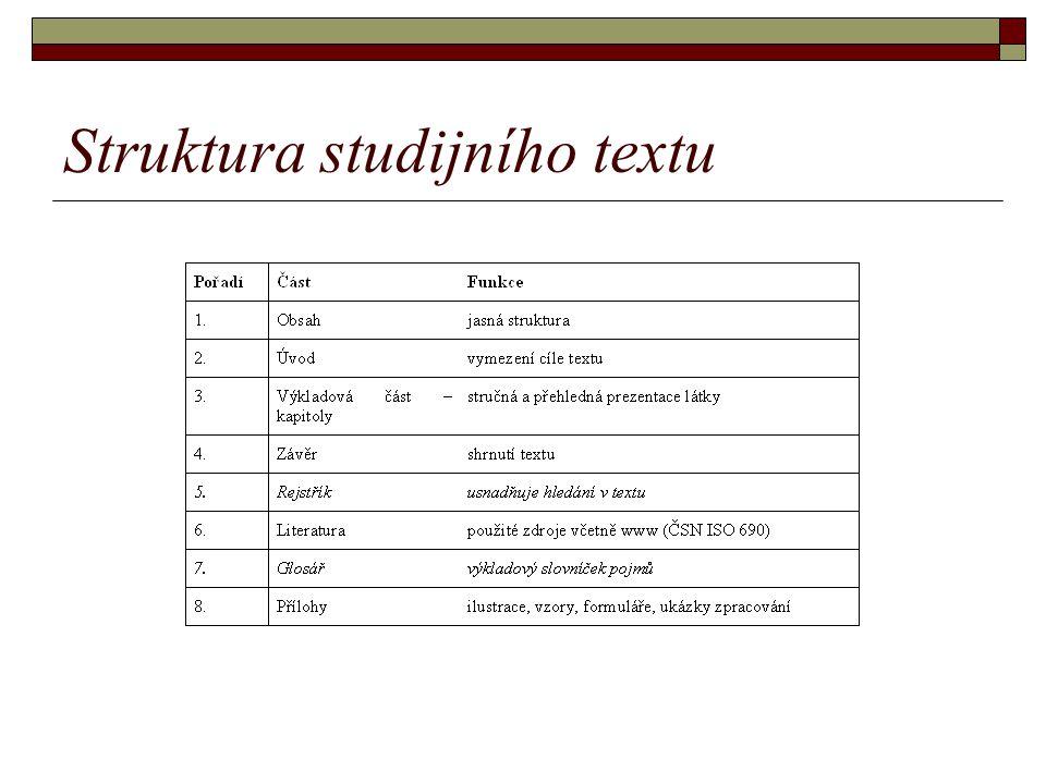 Struktura kapitoly studijního textu 1.vymezení studijních cílů kapitoly 2.klíčová slova 3.uvedení do problematiky (snaha motivovat) 4.vlastní text – učivo 5.příklady, případové studie 6.shrnutí 7.doplňující zdroje informací (literatura, www) 8.cvičení, úkoly, otázky, testy, … 9.řešení úkolů a odpovědi (klíč)