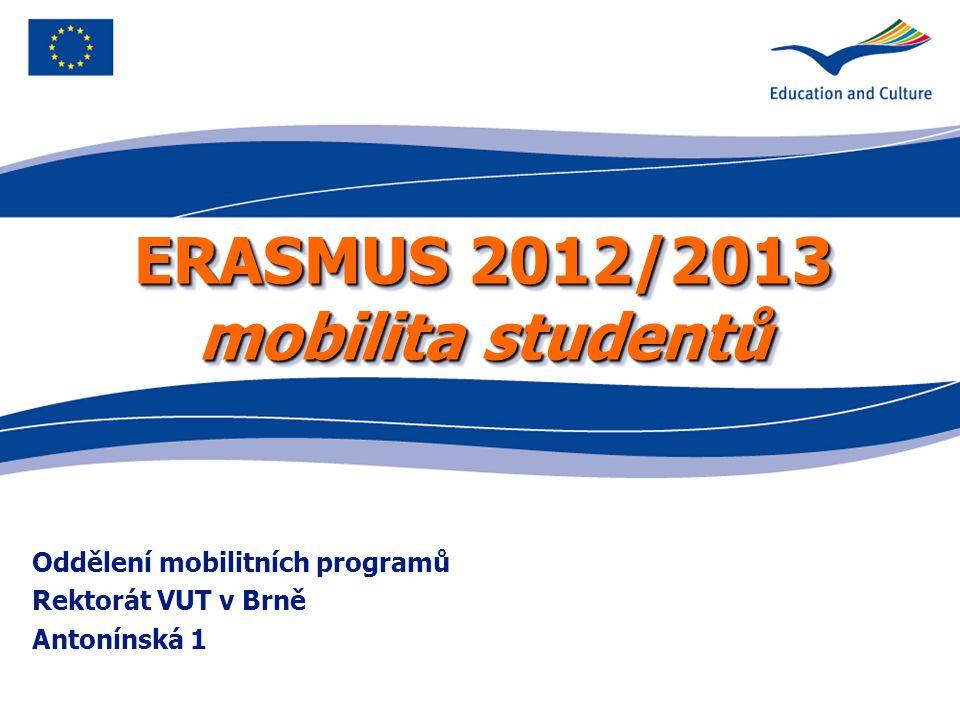 ERASMUS 2012/2013 mobilita studentů Oddělení mobilitních programů Rektorát VUT v Brně Antonínská 1