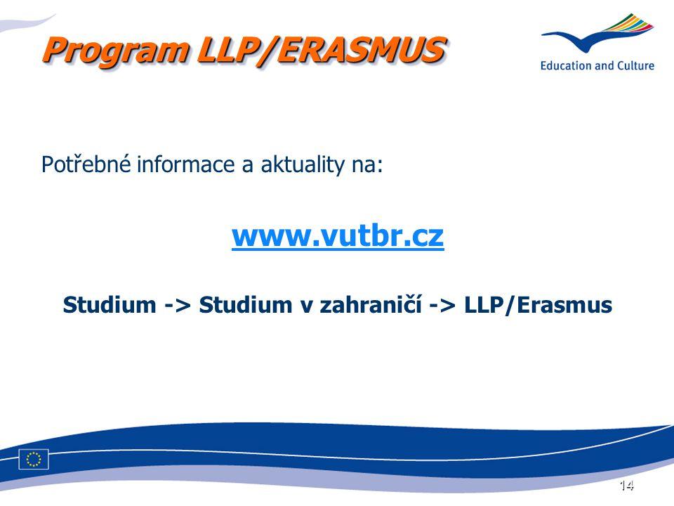 Program LLP/ERASMUS Potřebné informace a aktuality na: www.vutbr.cz Studium -> Studium v zahraničí -> LLP/Erasmus 14