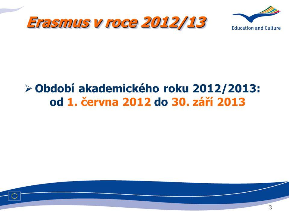 3  Období akademického roku 2012/2013: od 1. června 2012 do 30. září 2013 Erasmus v roce 2012/13