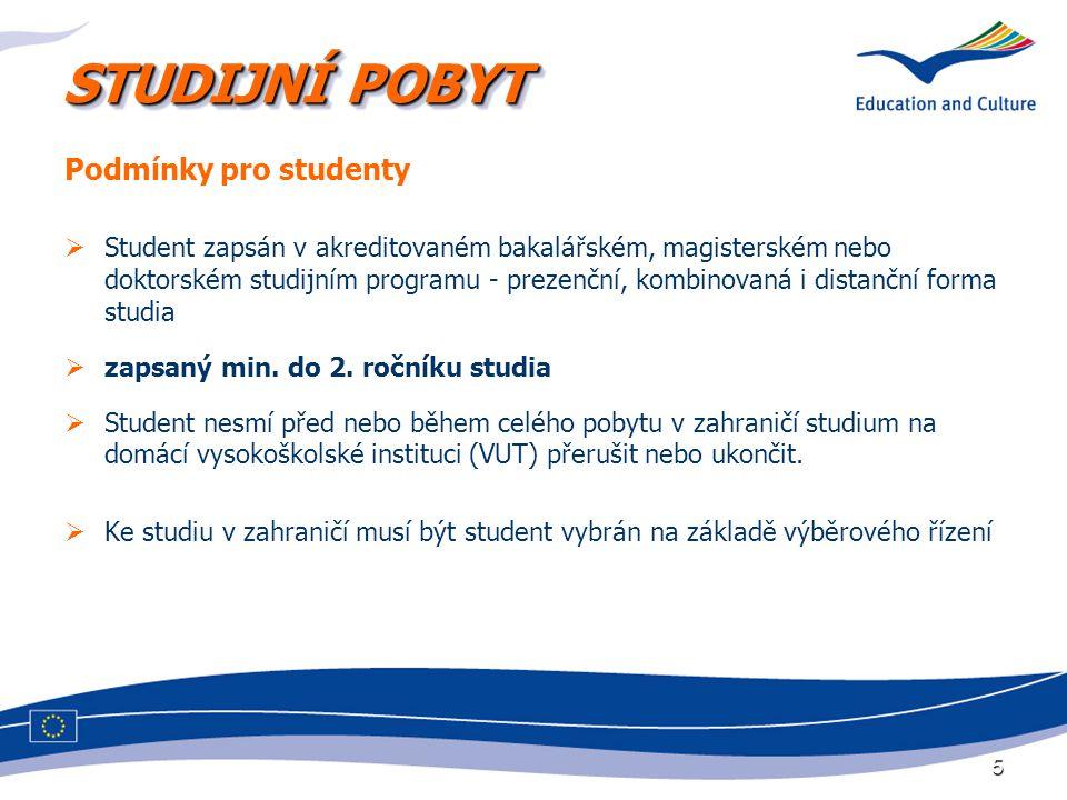 5 STUDIJNÍ POBYT Podmínky pro studenty  Student zapsán v akreditovaném bakalářském, magisterském nebo doktorském studijním programu - prezenční, komb
