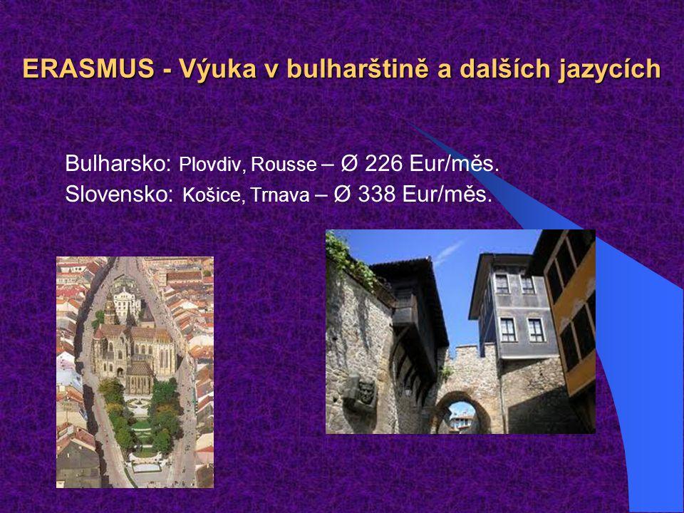 ERASMUS - Výuka v bulharštině a dalších jazycích Bulharsko: Plovdiv, Rousse – Ø 226 Eur/měs. Slovensko: Košice, Trnava – Ø 338 Eur/měs.