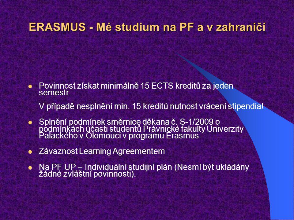ERASMUS - Mé studium na PF a v zahraničí Povinnost získat minimálně 15 ECTS kreditů za jeden semestr. V případě nesplnění min. 15 kreditů nutnost vrác