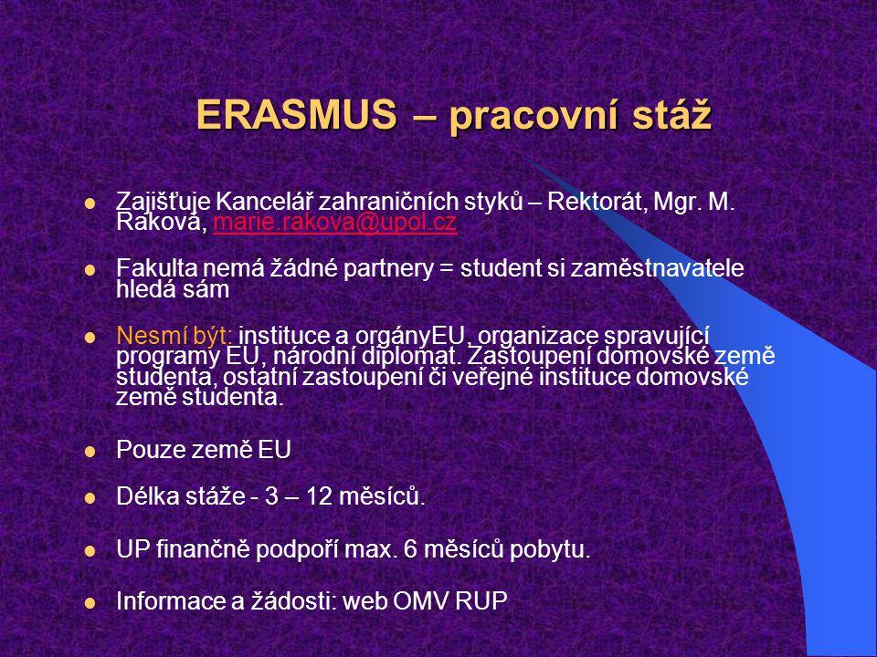 ERASMUS – pracovní stáž Zajišťuje Kancelář zahraničních styků – Rektorát, Mgr. M. Raková, marie.rakova@upol.czmarie.rakova@upol.cz Fakulta nemá žádné