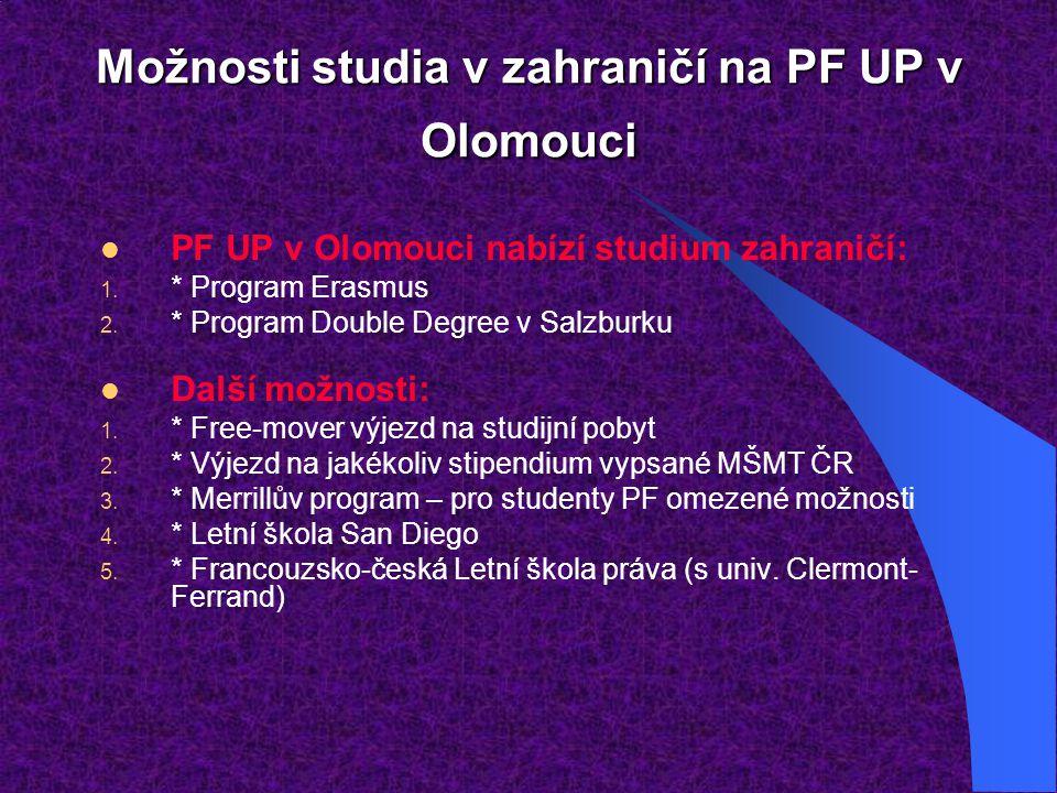 Možnosti studia v zahraničí na PF UP v Olomouci PF UP v Olomouci nabízí studium zahraničí: 1. * Program Erasmus 2. * Program Double Degree v Salzburku