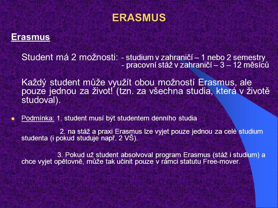 ERASMUS Erasmus Student má 2 možnosti: - studium v zahraničí – 1 nebo 2 semestry - pracovní stáž v zahraničí – 3 – 12 měsíců Každý student může využít