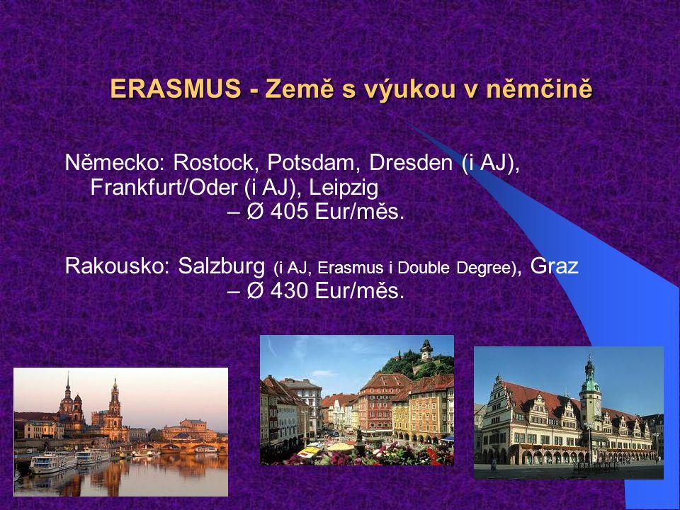 ERASMUS - Země s výukou v němčině Německo: Rostock, Potsdam, Dresden (i AJ), Frankfurt/Oder (i AJ), Leipzig – Ø 405 Eur/měs. Rakousko: Salzburg (i AJ,