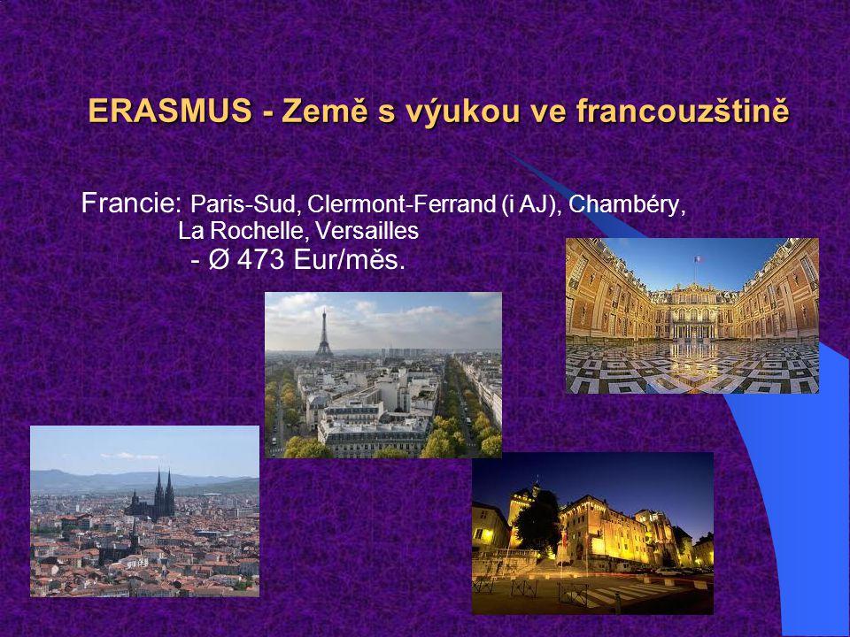 ERASMUS - Země s výukou ve francouzštině Francie: Paris-Sud, Clermont-Ferrand (i AJ), Chambéry, La Rochelle, Versailles - Ø 473 Eur/měs.