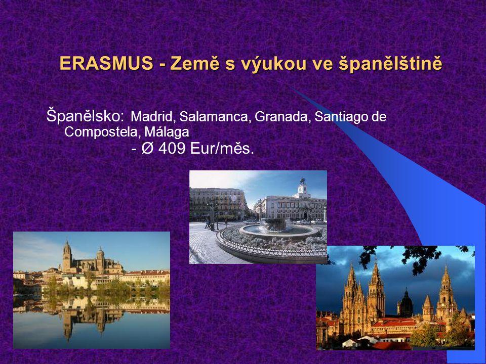 ERASMUS - Země s výukou ve španělštině Španělsko: Madrid, Salamanca, Granada, Santiago de Compostela, Málaga - Ø 409 Eur/měs.