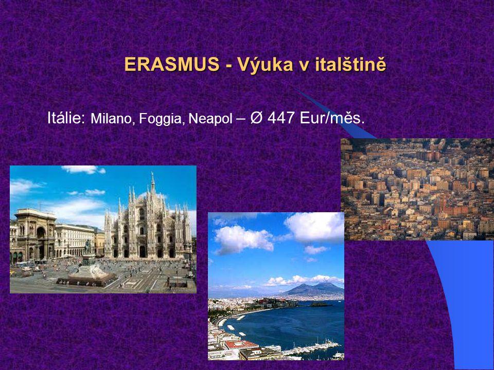 ERASMUS - Výuka v italštině Itálie: Milano, Foggia, Neapol – Ø 447 Eur/měs.