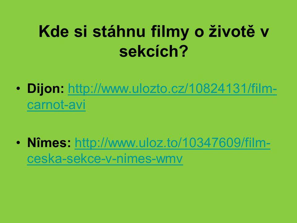 Kde si stáhnu filmy o životě v sekcích? Dijon: http://www.ulozto.cz/10824131/film- carnot-avihttp://www.ulozto.cz/10824131/film- carnot-avi Nîmes: htt
