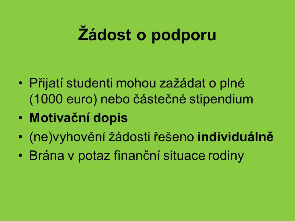 Žádost o podporu Přijatí studenti mohou zažádat o plné (1000 euro) nebo částečné stipendium Motivační dopis (ne)vyhovění žádosti řešeno individuálně B