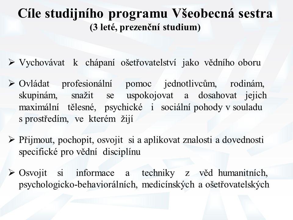 Cíle studijního programu Všeobecná sestra (3 leté, prezenční studium)  Vychovávat k chápaní ošetřovatelství jako vědního oboru  Ovládat profesionáln