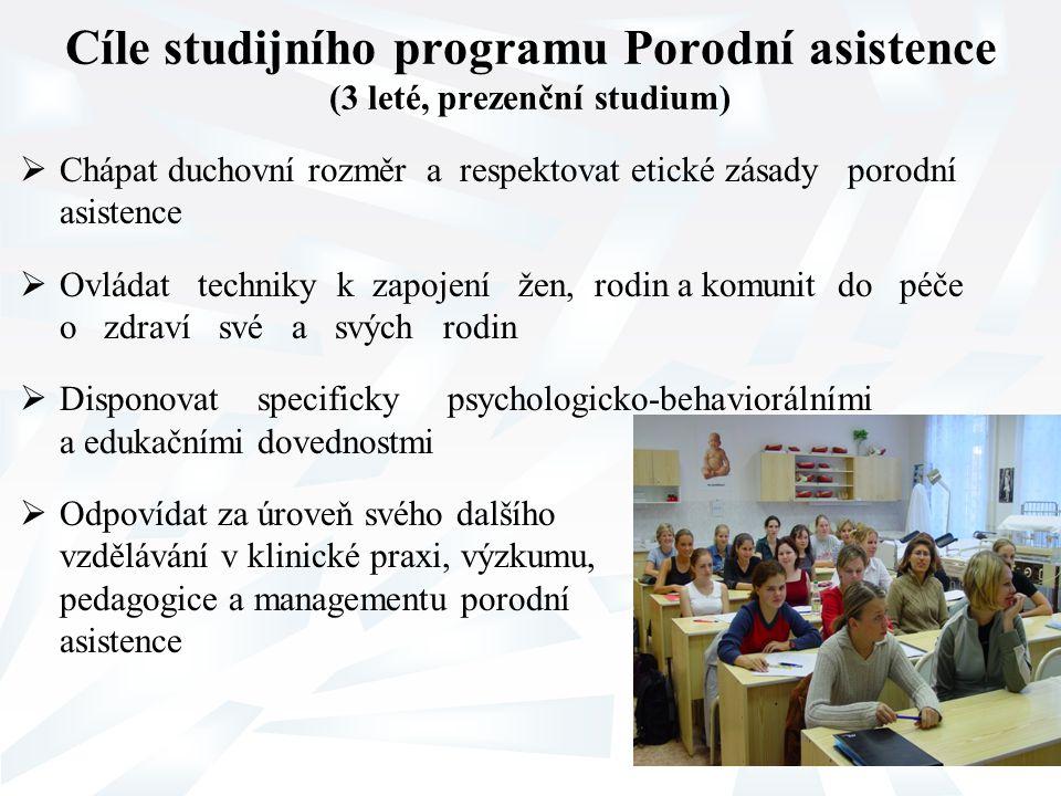Cíle studijního programu Porodní asistence (3 leté, prezenční studium)  Chápat duchovní rozměr a respektovat etické zásady porodní asistence  Ovláda