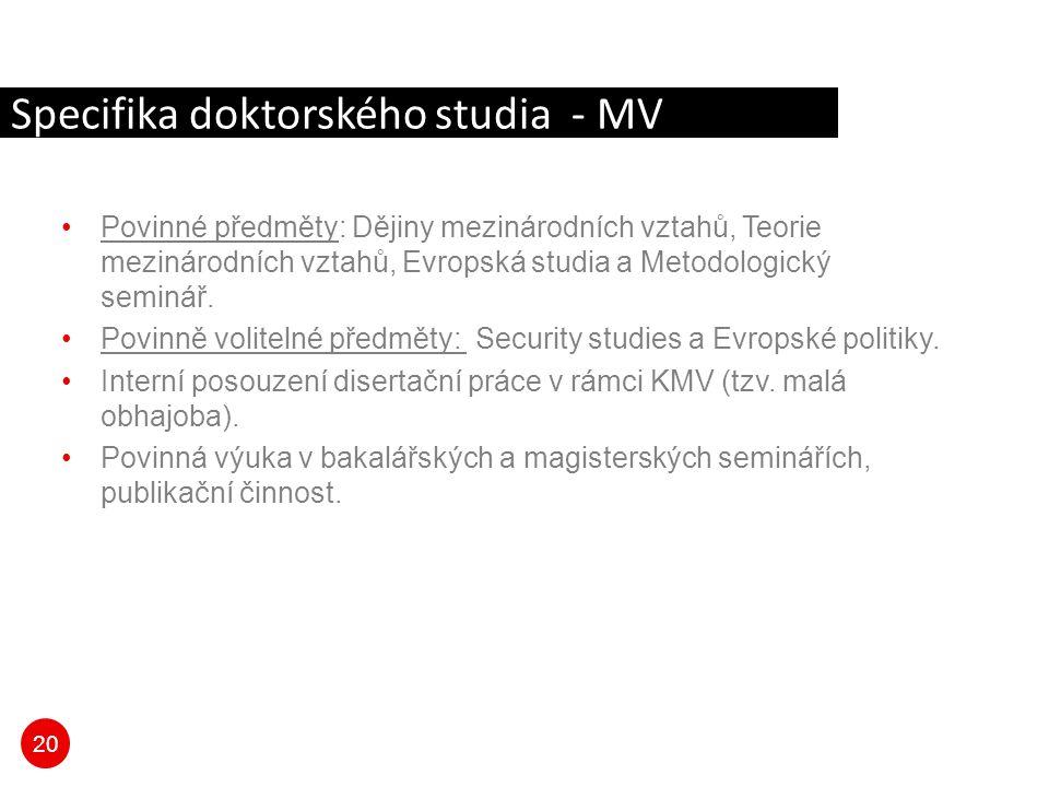 20 Specifika doktorského studia - MV Povinné předměty: Dějiny mezinárodních vztahů, Teorie mezinárodních vztahů, Evropská studia a Metodologický semin