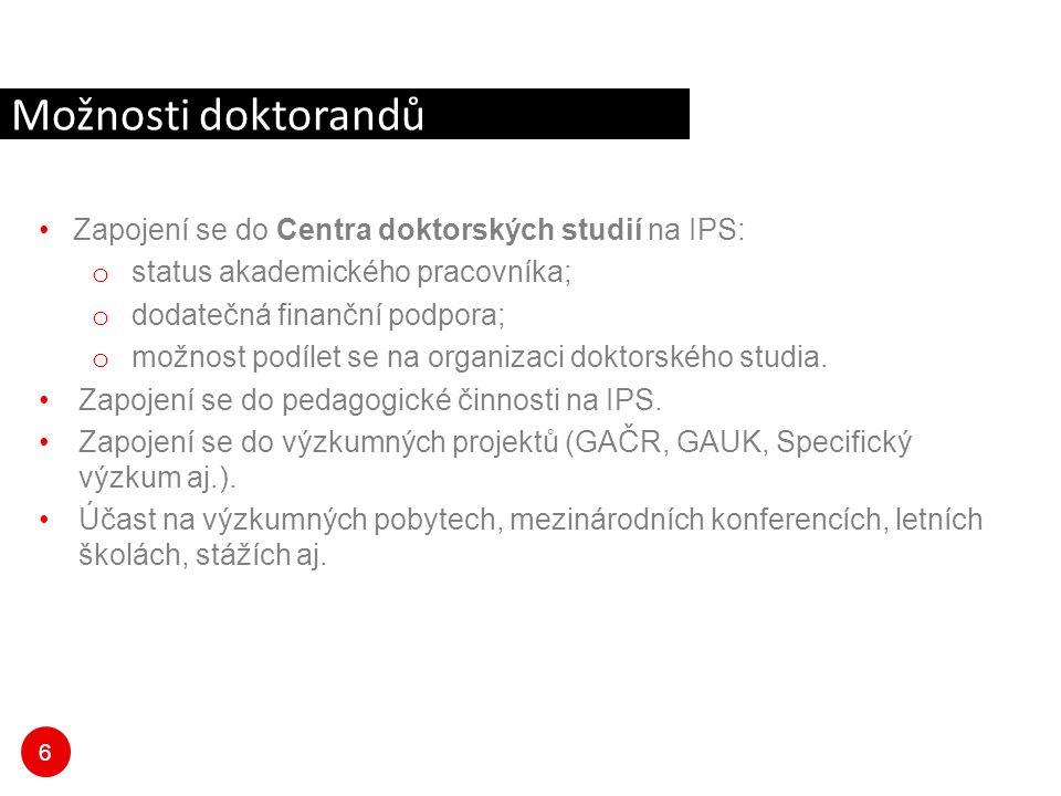 6 Zapojení se do Centra doktorských studií na IPS: o status akademického pracovníka; o dodatečná finanční podpora; o možnost podílet se na organizaci
