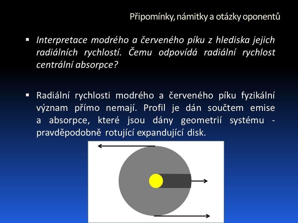 Připomínky, námitky a otázky oponentů  Interpretace modrého a červeného píku z hlediska jejich radiálních rychlostí.