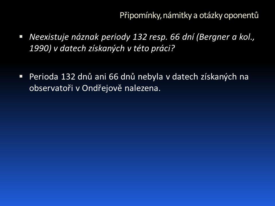 Připomínky, námitky a otázky oponentů  Neexistuje náznak periody 132 resp.