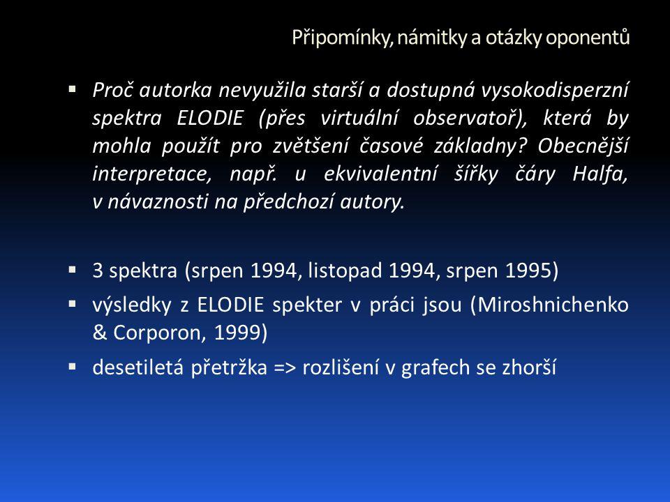 Připomínky, námitky a otázky oponentů  Proč autorka nevyužila starší a dostupná vysokodisperzní spektra ELODIE (přes virtuální observatoř), která by mohla použít pro zvětšení časové základny.