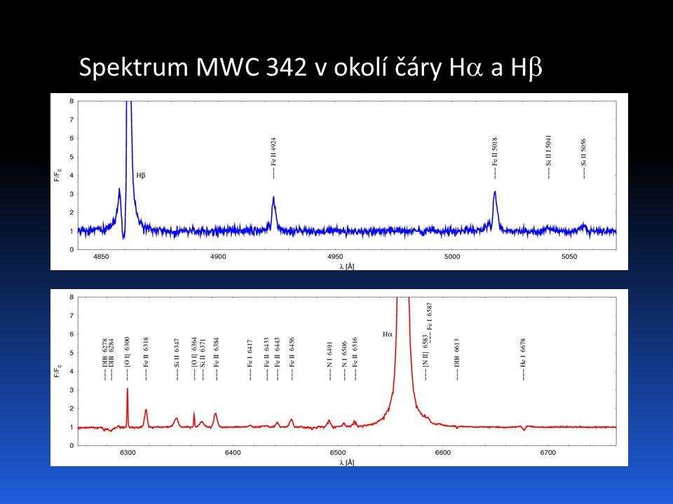 Spektrum MWC 342 v okolí čáry H  a H 