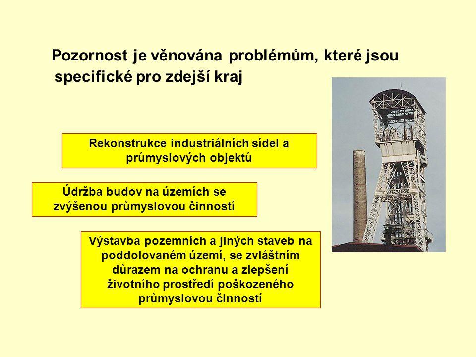 Pozornost je věnována problémům, které jsou specifické pro zdejší kraj Rekonstrukce industriálních sídel a průmyslových objektů Údržba budov na územíc