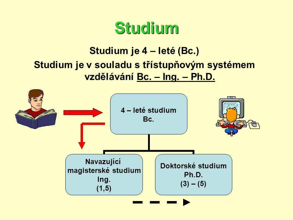 Studium Studium je 4 – leté (Bc.) Studium je v souladu s třístupňovým systémem vzdělávání Bc. – Ing. – Ph.D. 4 – leté studium Bc. Navazující magisters