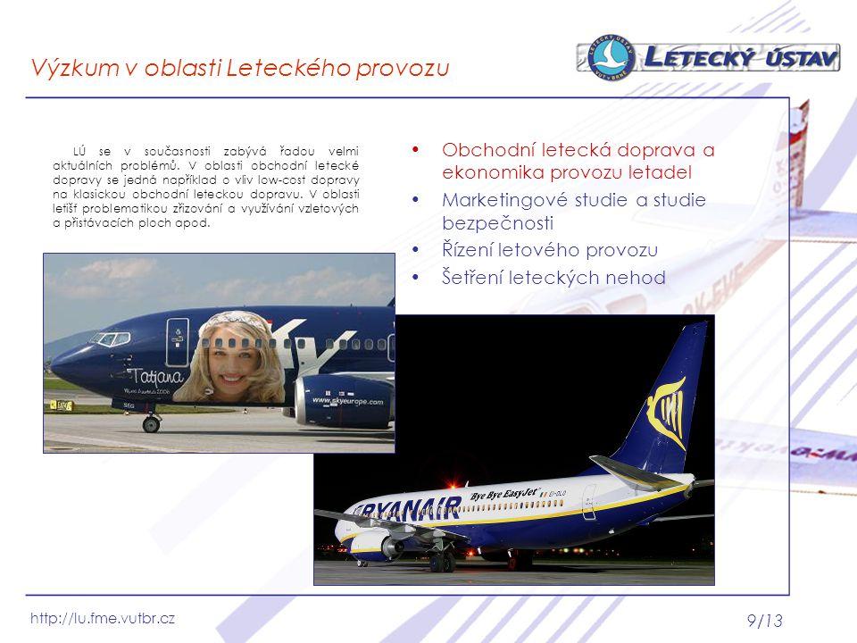 http://lu.fme.vutbr.cz 9/13 Výzkum v oblasti Leteckého provozu Obchodní letecká doprava a ekonomika provozu letadel Marketingové studie a studie bezpe