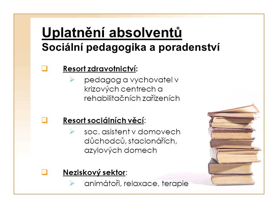 Uplatnění absolventů Sociální pedagogika a poradenství  Resort zdravotnictví:  pedagog a vychovatel v krizových centrech a rehabilitačních zařízeníc