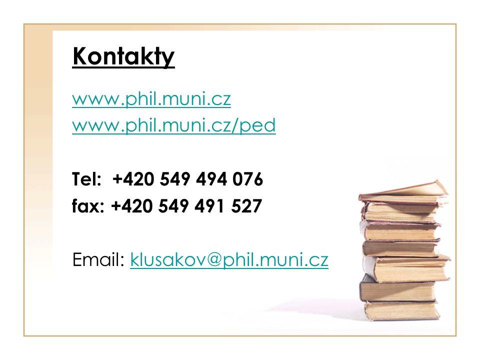 Kontakty www.phil.muni.cz www.phil.muni.cz/ped Tel: +420 549 494 076 fax: +420 549 491 527 Email: klusakov@phil.muni.czklusakov@phil.muni.cz