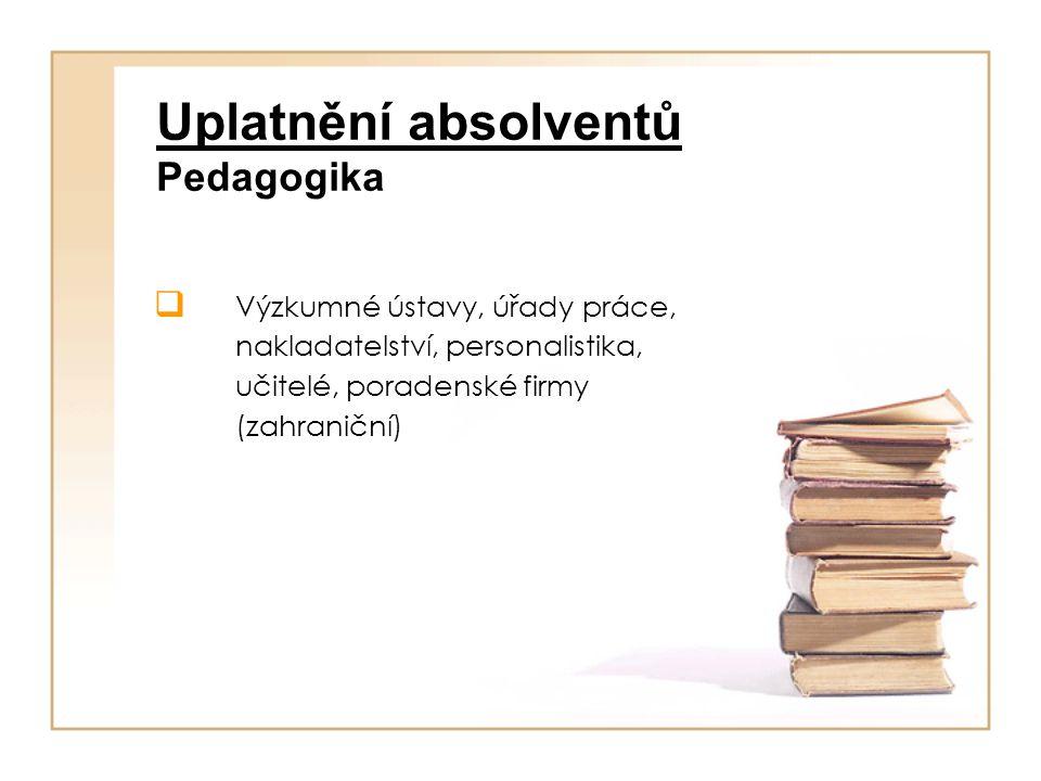Uplatnění absolventů Pedagogika  Výzkumné ústavy, úřady práce, nakladatelství, personalistika, učitelé, poradenské firmy (zahraniční)