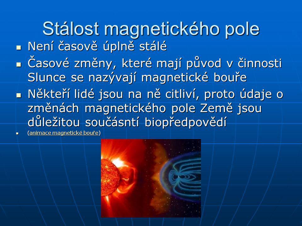 Stálost magnetického pole Není časově úplně stálé Není časově úplně stálé Časové změny, které mají původ v činnosti Slunce se nazývají magnetické bouř
