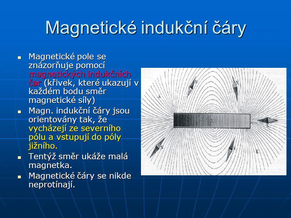 Magnetické indukční čáry Magnetické pole se znázorňuje pomocí magnetických indukčních čar (křivek, které ukazují v každém bodu směr magnetické síly) M