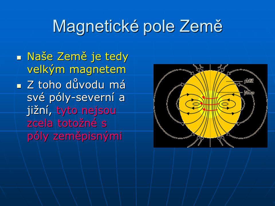 Magnetické pole Země Naše Země je tedy velkým magnetem Naše Země je tedy velkým magnetem Z toho důvodu má své póly-severní a jižní, tyto nejsou zcela