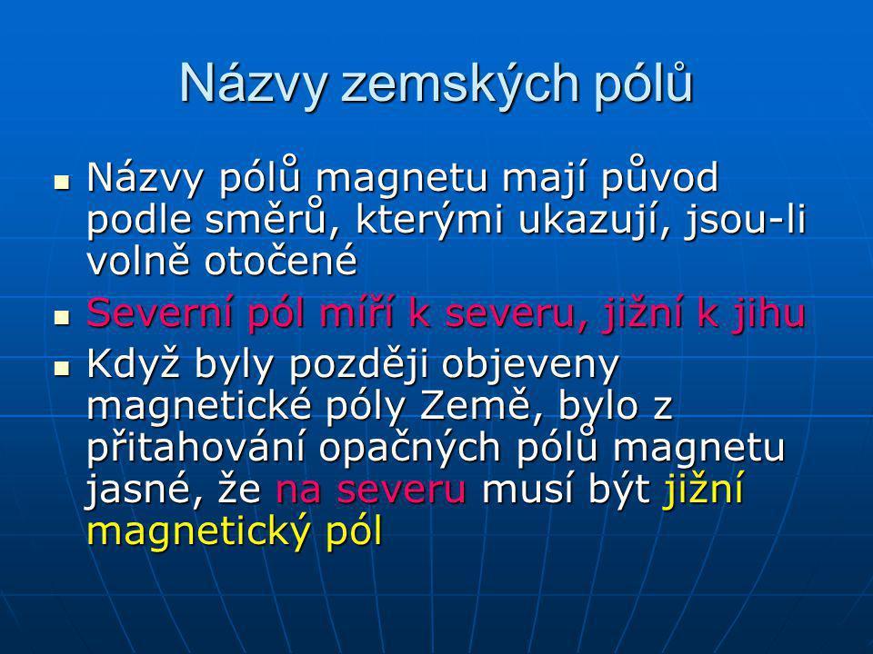 Názvy zemských pólů Názvy pólů magnetu mají původ podle směrů, kterými ukazují, jsou-li volně otočené Názvy pólů magnetu mají původ podle směrů, který