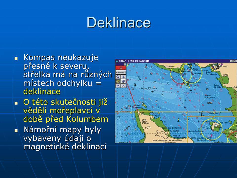 Deklinace Kompas neukazuje přesně k severu, střelka má na různých místech odchylku = deklinace Kompas neukazuje přesně k severu, střelka má na různých