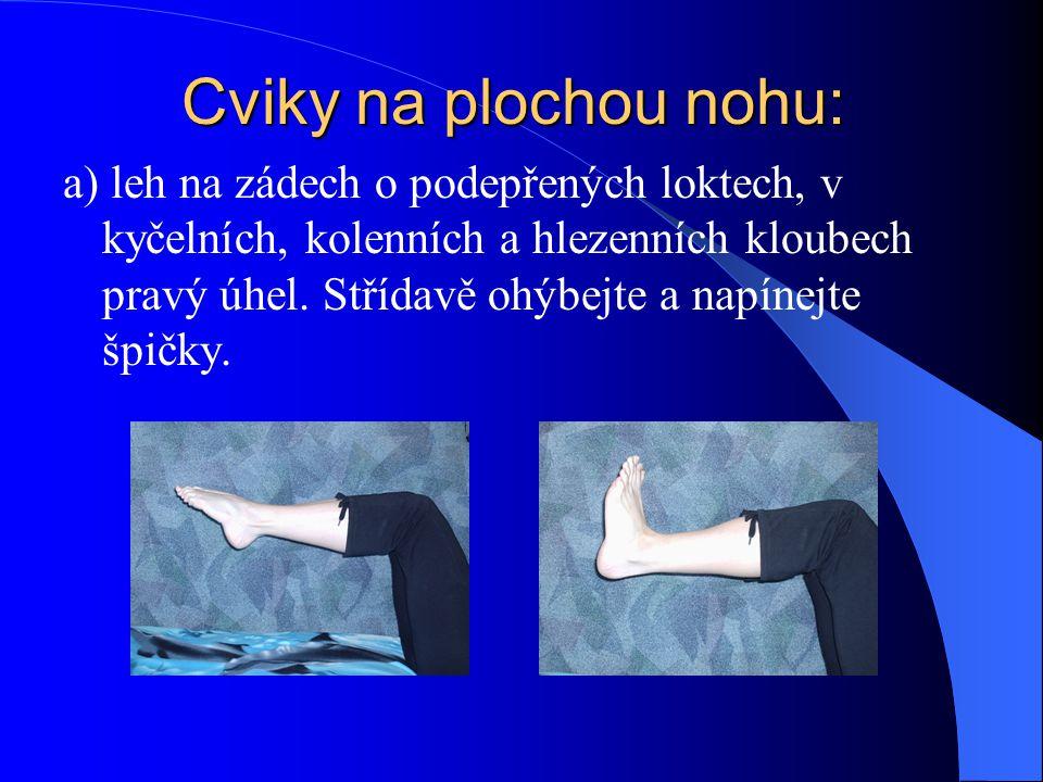 Cviky na plochou nohu: a) leh na zádech o podepřených loktech, v kyčelních, kolenních a hlezenních kloubech pravý úhel. Střídavě ohýbejte a napínejte