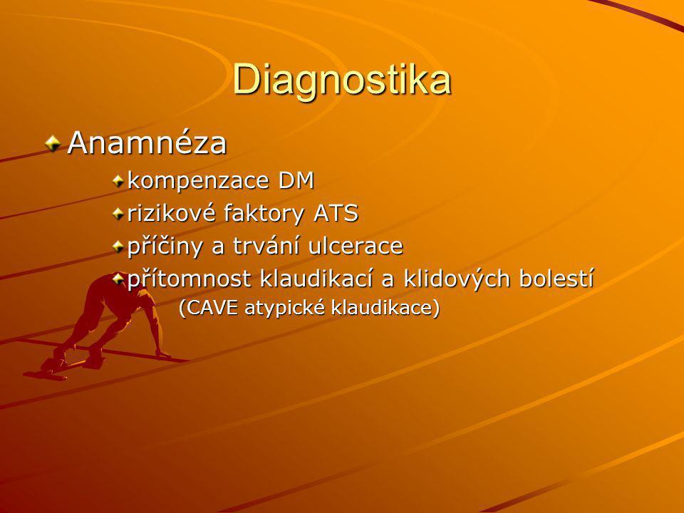 Diagnostika Anamnéza kompenzace DM rizikové faktory ATS příčiny a trvání ulcerace přítomnost klaudikací a klidových bolestí (CAVE atypické klaudikace)