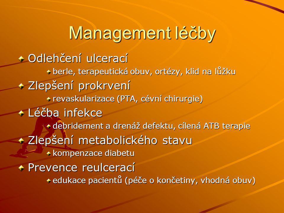 Management léčby Odlehčení ulcerací berle, terapeutická obuv, ortézy, klid na lůžku Zlepšení prokrvení revaskularizace (PTA, cévní chirurgie) Léčba in