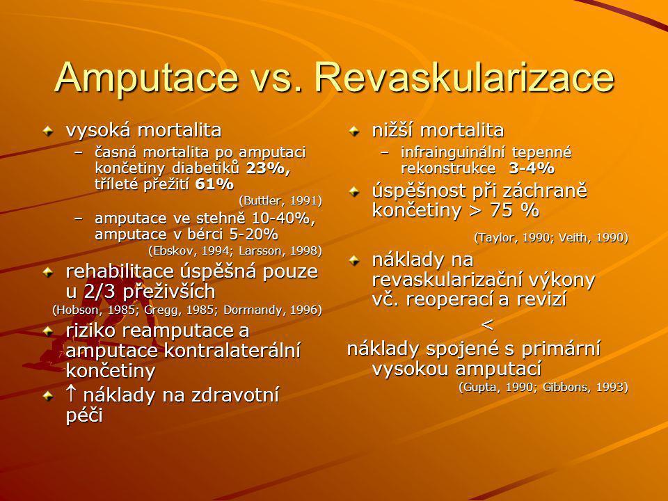 Amputace vs. Revaskularizace vysoká mortalita –časná mortalita po amputaci končetiny diabetiků 23%, tříleté přežití 61% (Buttler, 1991) –amputace ve s