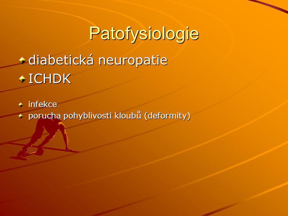 Patofysiologie diabetická neuropatie ICHDKinfekce porucha pohyblivosti kloubů (deformity)