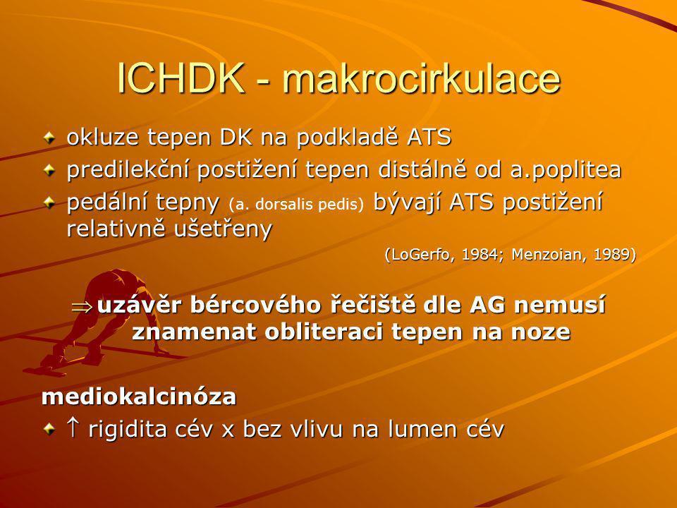 ICHDK - makrocirkulace okluze tepen DK na podkladě ATS predilekční postižení tepen distálně od a.poplitea pedální tepny bývají ATS postižení relativně