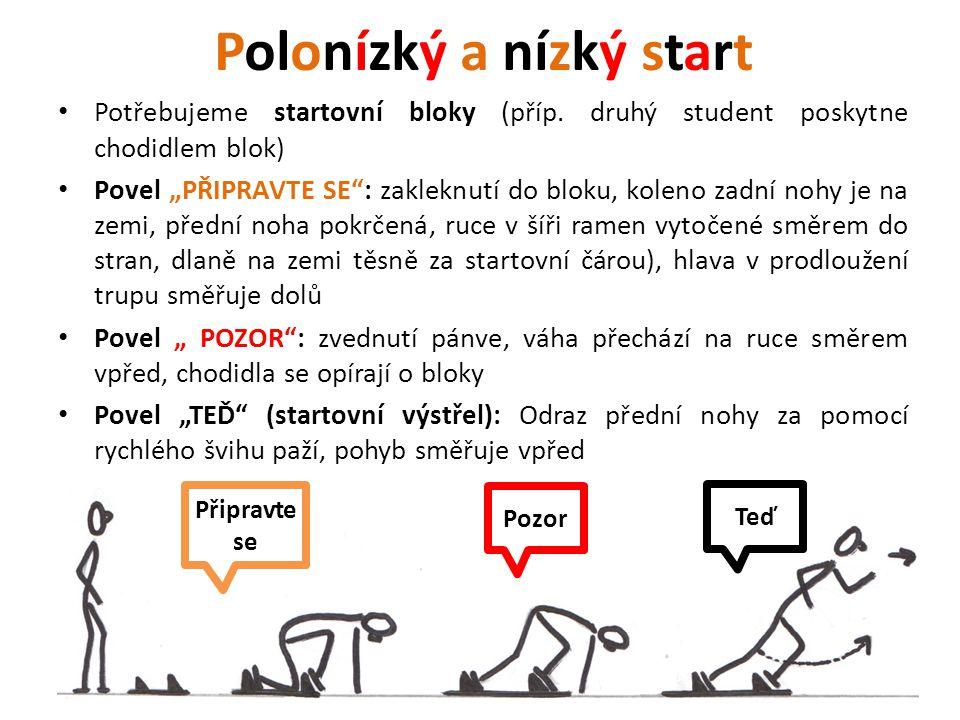 """Polonízký a nízký start Potřebujeme startovní bloky (příp. druhý student poskytne chodidlem blok) Povel """"PŘIPRAVTE SE"""": zakleknutí do bloku, koleno za"""